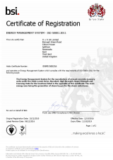 BSI Certificate of Registration ISO 50001 2011
